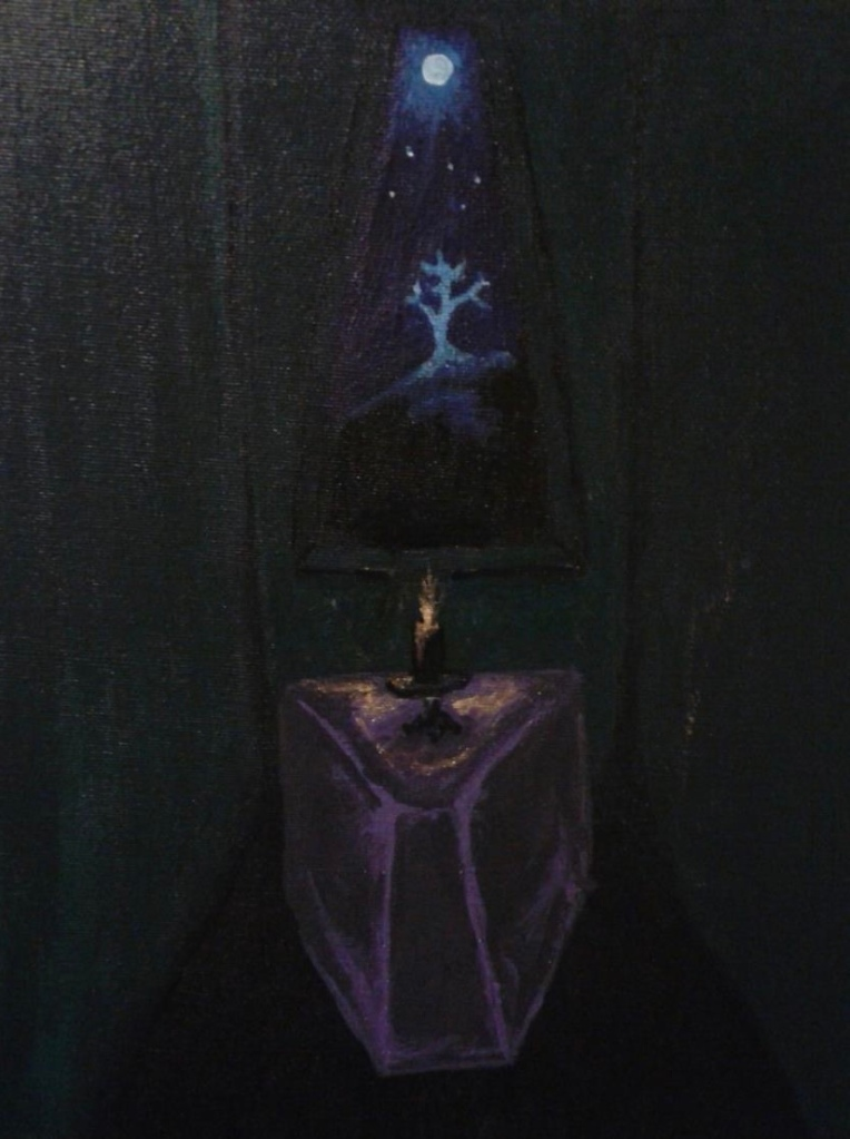 Painting  of ritual chamber at night  with moon  in the window